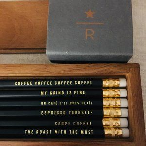 Starbucks Reserve Wooden Pencil Case with Pencils